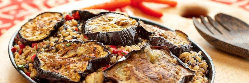 Stovetop Eggplant Barley Paella