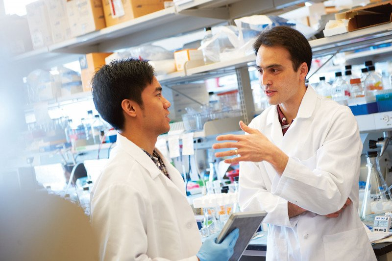 Two researchers talking in the laboratory