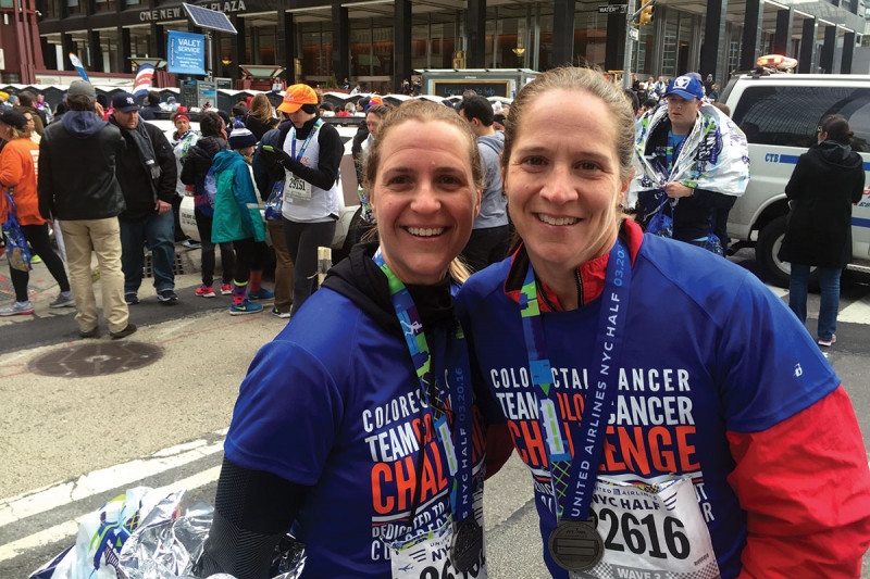 MSK colorectal cancer patient Katie Rich and a friend after the NYC Half Marathon
