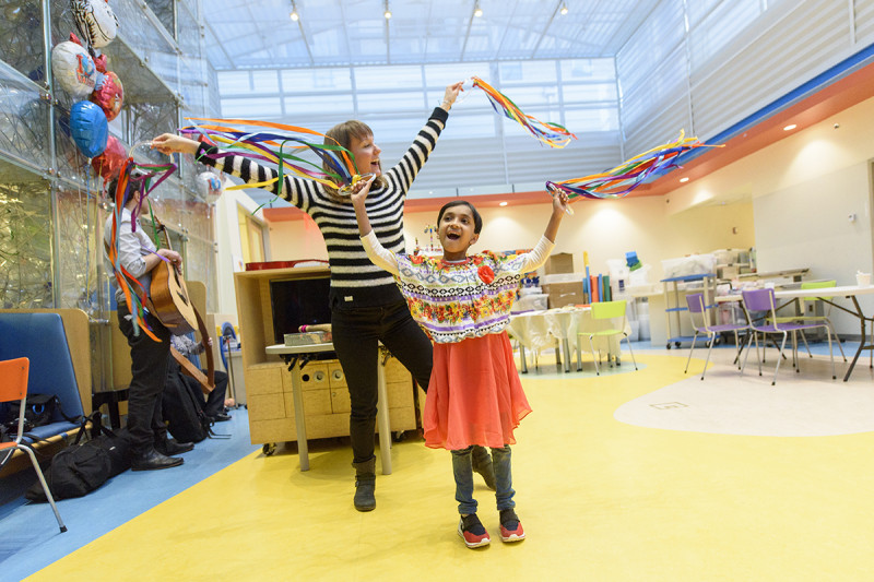 MSK dance and movement therapist Jenn Whitley with a pediatric patient