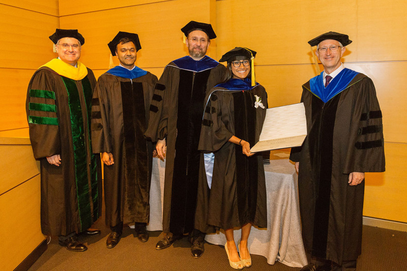 From left: Dr. Thompson, physician-scientist Sarat Chandarlapaty, GSK Dean Kenneth Marians, GSK graduate Kinisha Gala, and SKI Director Joan Massagué
