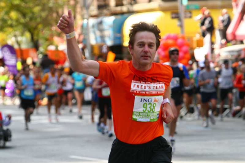 MSK physician-scientist Marcel van den Brink running the 2008 New York City marathon