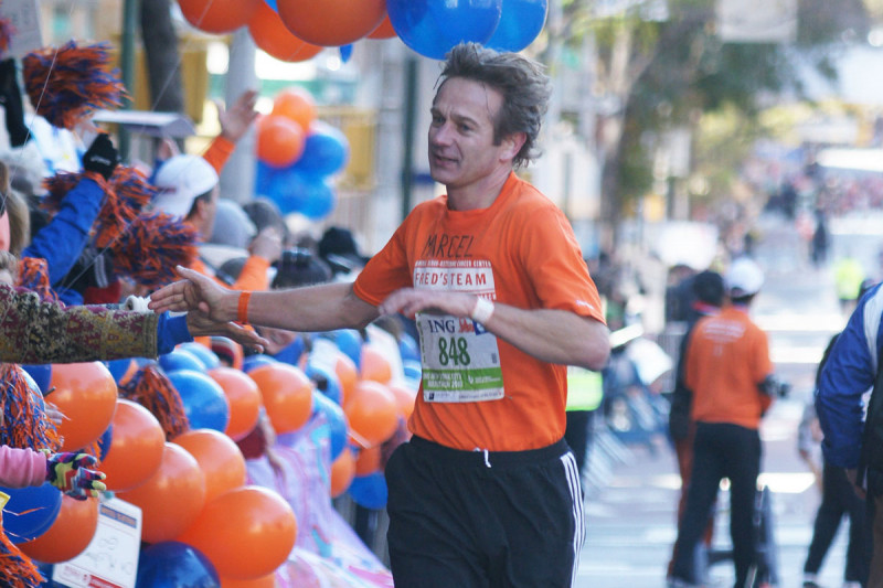 MSK physician-scientist Marcel van den Brink running the 2010 New York City marathon