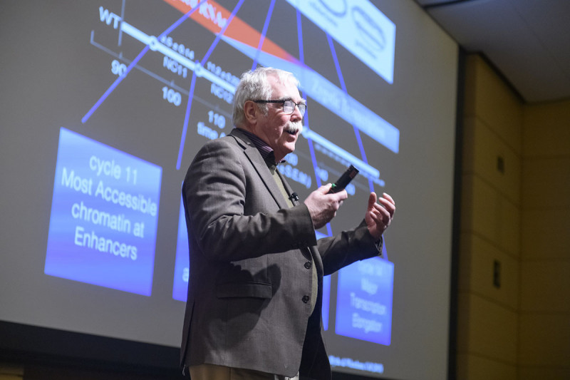 Male scientist speaking in front of a screen