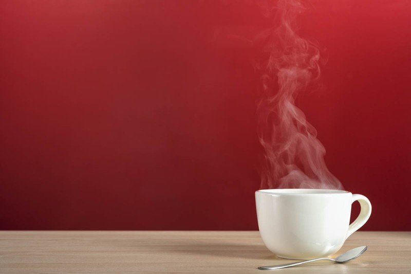 Coffee cup with steam rising from it