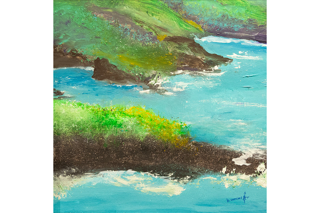patient artwork depicting cliffs and a body of water