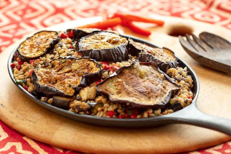Eggplant Barley Paella