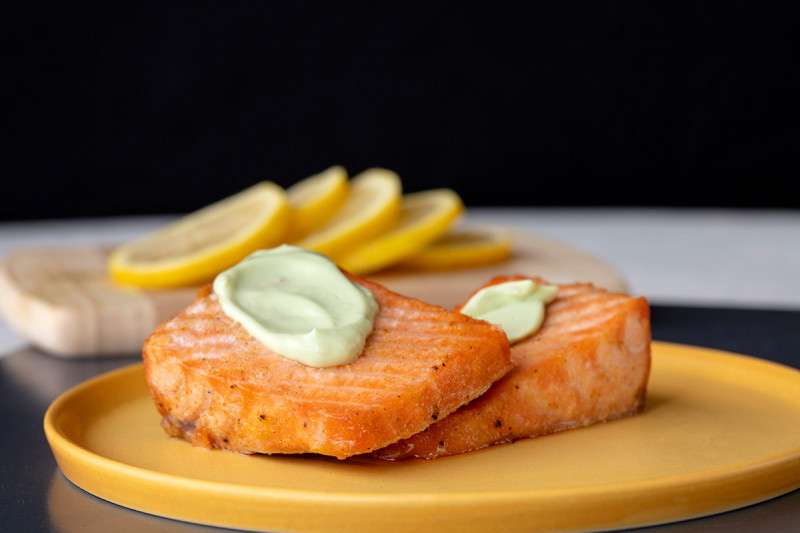 Salmon Fillet with Yogurt Avocado Sauce