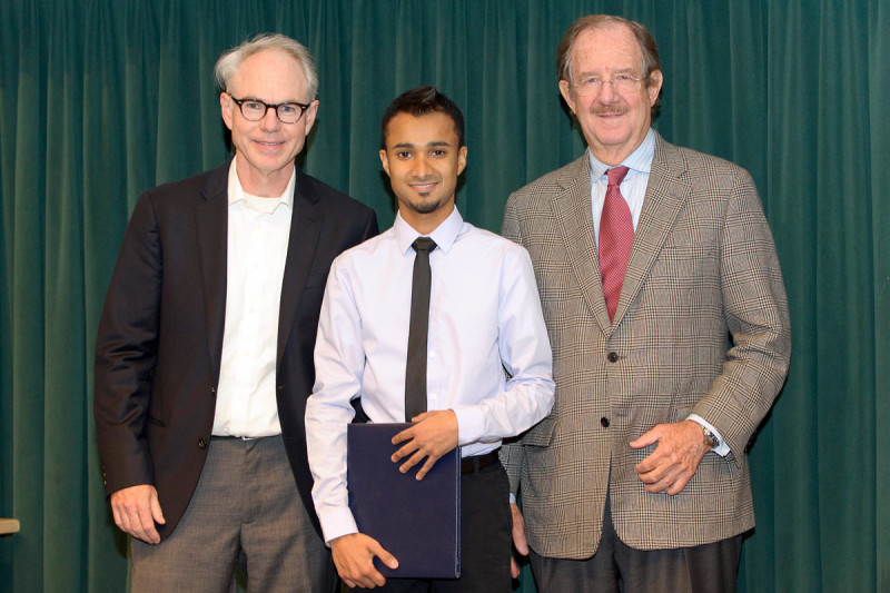 Charles Sawyers and Thomas Kelly present Neel Shah with the 2012 Geoffrey Beene Graduate Student Fellowship award.