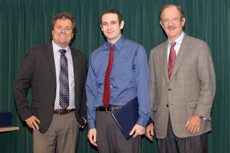Ted Kastenhuber receives the 2012 Geoffrey Beene Graduate Student Fellowship award from Thomas Kelly, alongside his mentor Scott Lowe.