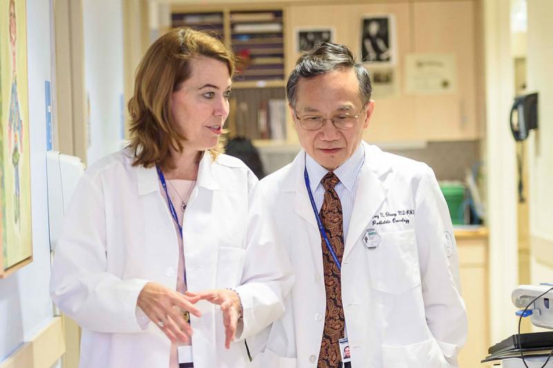 Researcher Nai-Kong Cheung and MSK Kids pediatric oncologist Kim Kramer