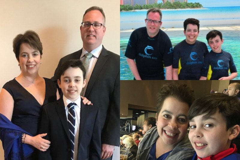 A collage of photos of Nicole Grogan with her husband and son
