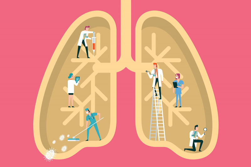 Cartoon illustration of lung with tiny medical figures tending to it.