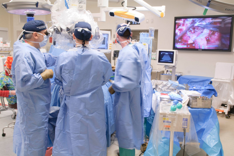 Pictured: Memorial Sloan Kettering brain tumor surgery in progress.