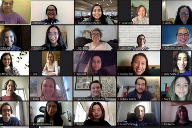 Immigrant Health & Cancer Disparities Service staff and faculty in a Zoom call
