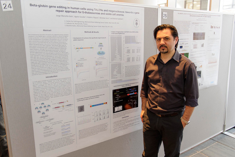 "Jorge Mansilla-Soto of the Sloan Kettering Institute's Molecular Pharmacology and Chemistry Program and the Center for Stem Cell Biology NYSTEM Trainings Grant presents ""Beta-globin Gene Editing in Human Cells Using TALENs and Meganucleases: Towards a Gene Repair Approach for ß-thalassemias and Sickle Cell Anemia."""