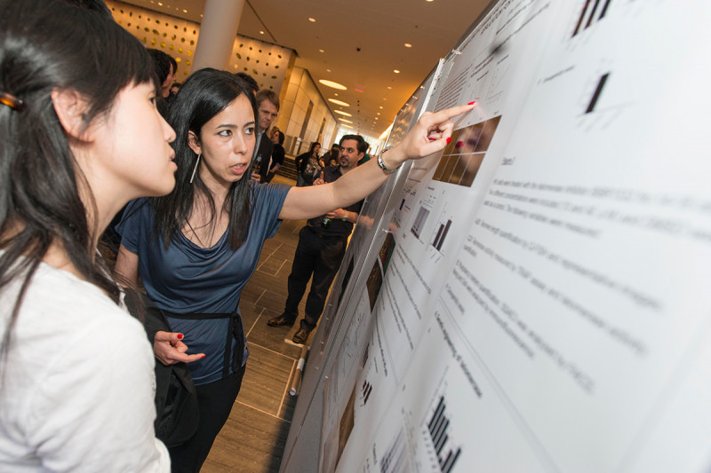 """Elsa Vera (right) of the Sloan Kettering Institute's Developmental Biology Program and the Center for Stem Cell Biology NYSTEM Trainings Grant presents """"Telomere Length Dynamic and Manipulation during Neural Differentiation and Its Possible Application for Modeling Late-Onset Disease."""""""