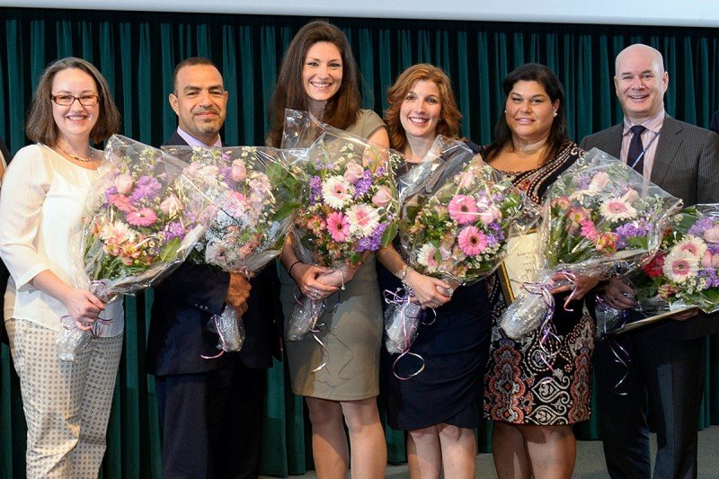 (From Left) Karen Collum, Fred Haro-Zuniga, Katherine Gamble, Janine Kennedy, Virginia Morales, and Joseph B. Narus.