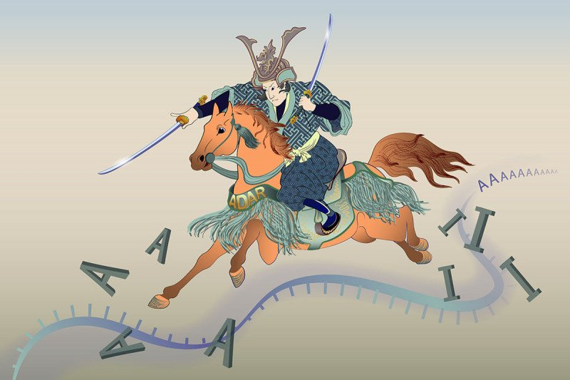 An illustration of a samurai riding a horse along a strand of RNA. The samurai's sword is changing the letter A to the letter I.