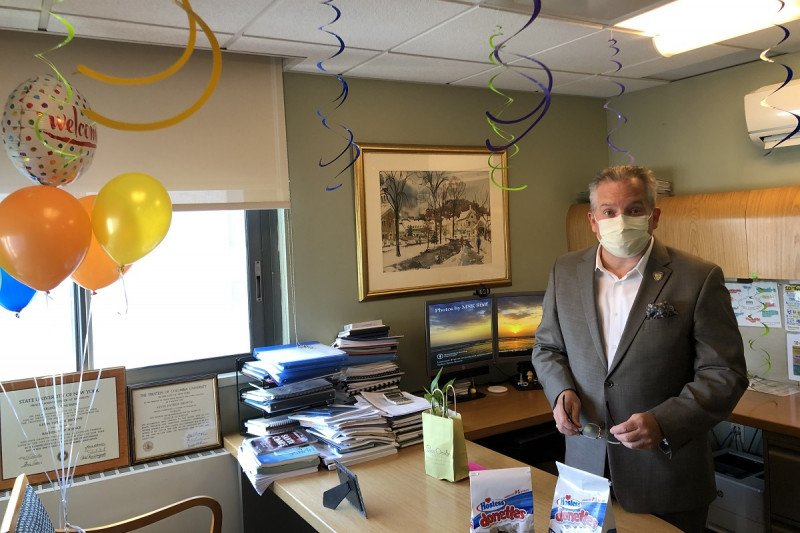 Kevin Browne, MSK's Deputy Chief Nursing Officer, on the day he returned to work.