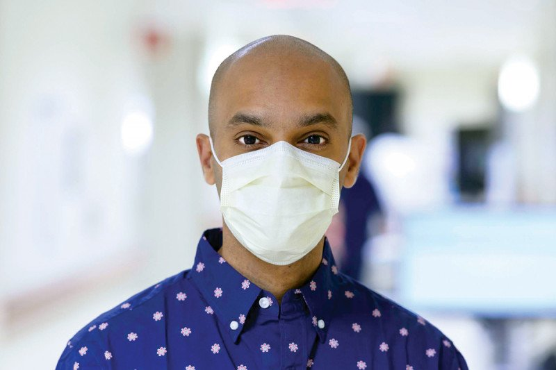 Memorial Sloan Kettering medical oncologist Santosha Vardhana with medical mask on.