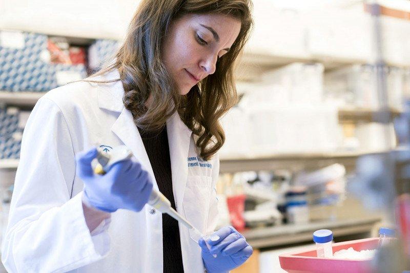 Neurologist Dr. Adrienne Boire in her lab