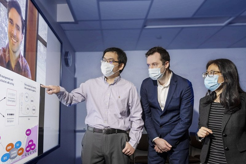 Researchers Gary Dixon (on TV monitor), Heng Pan, Olivier Elemento, and Danwei Huangfu in the lab