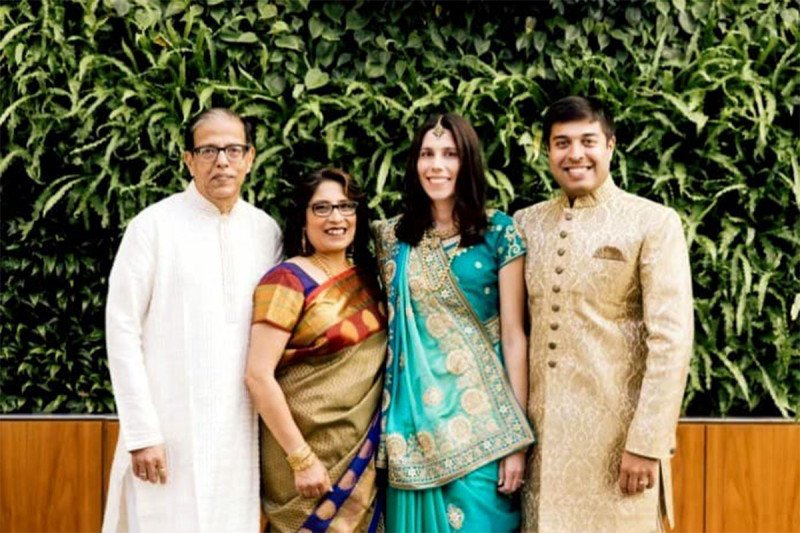 Sashi Ghosal and his family posing for a photo