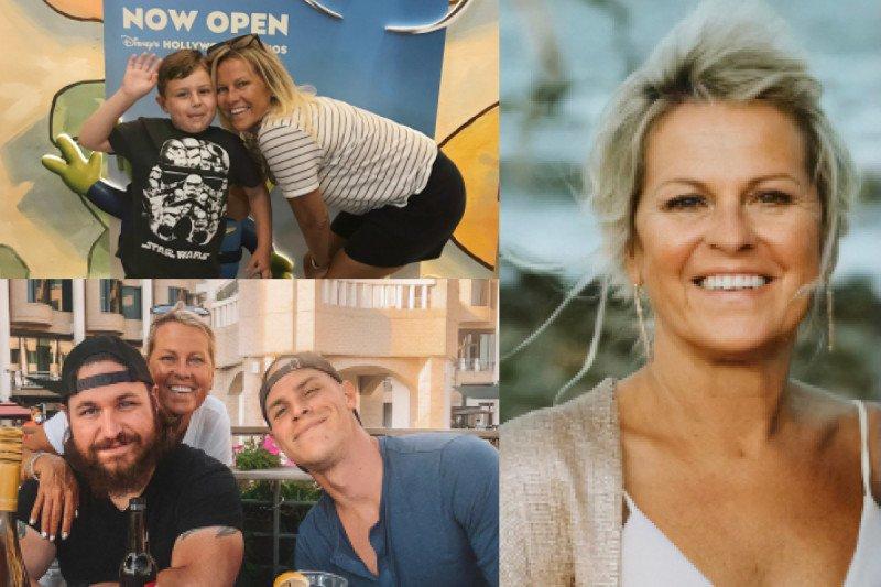 Three photos of Karen Milich: one with her grandson, one of her with her sons, and one of her alone