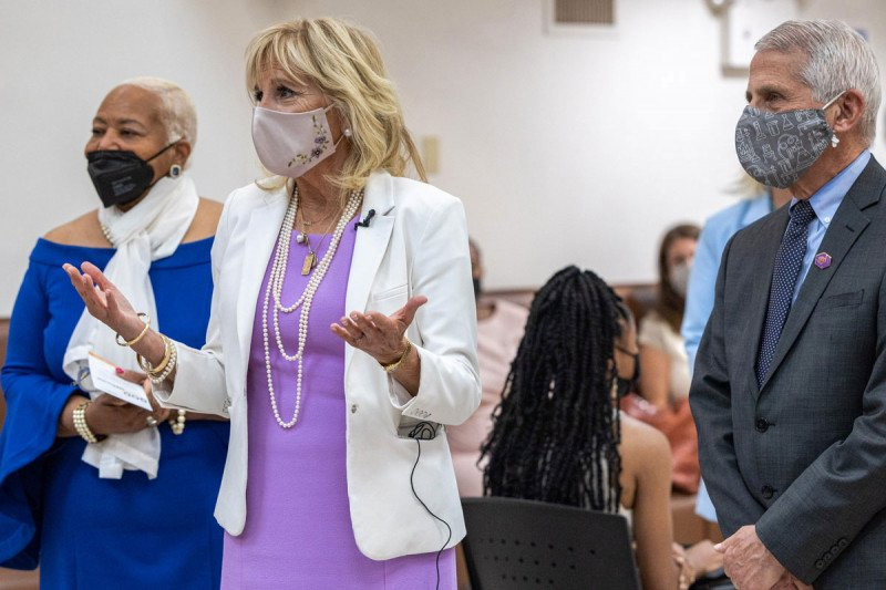 Dr. Jill Biden addressing someone out of frame