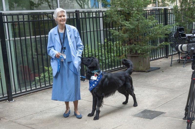Volunteer MaryJane Koren and her dog, Plum