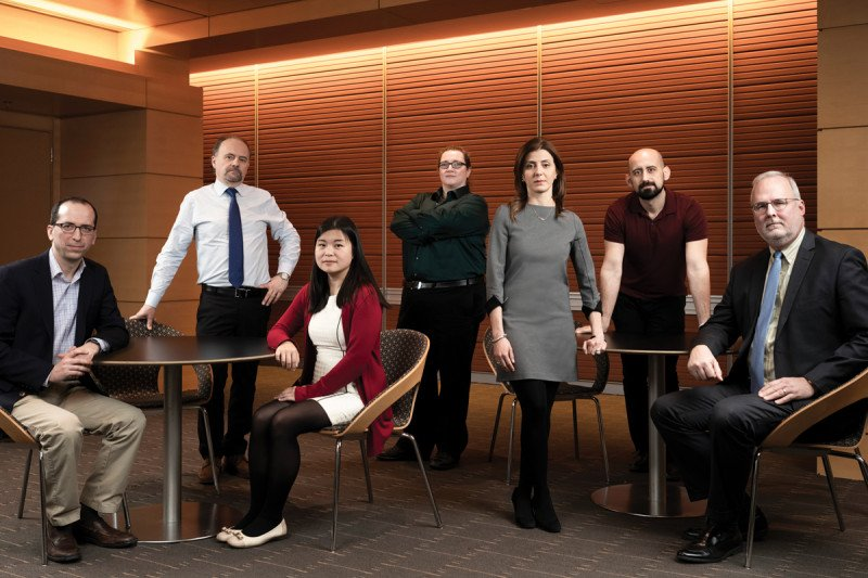 Group photo of researchers Michael Berger, Marc Ladanyi, Dana Tsui, Rose Brannon, Ryma Benayed, Ahmet Zehir, and David Klimstra.