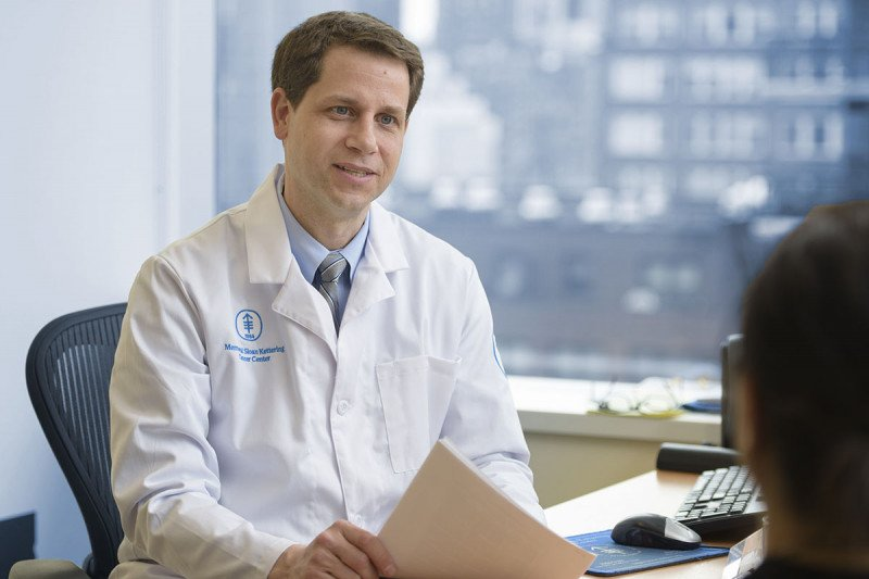 William Tap, Chief of MSK's Sarcoma Medical Oncology Service, sits at his desk
