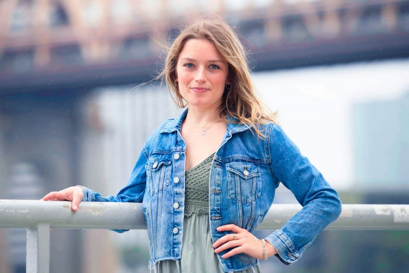 A woman in a jean jacket