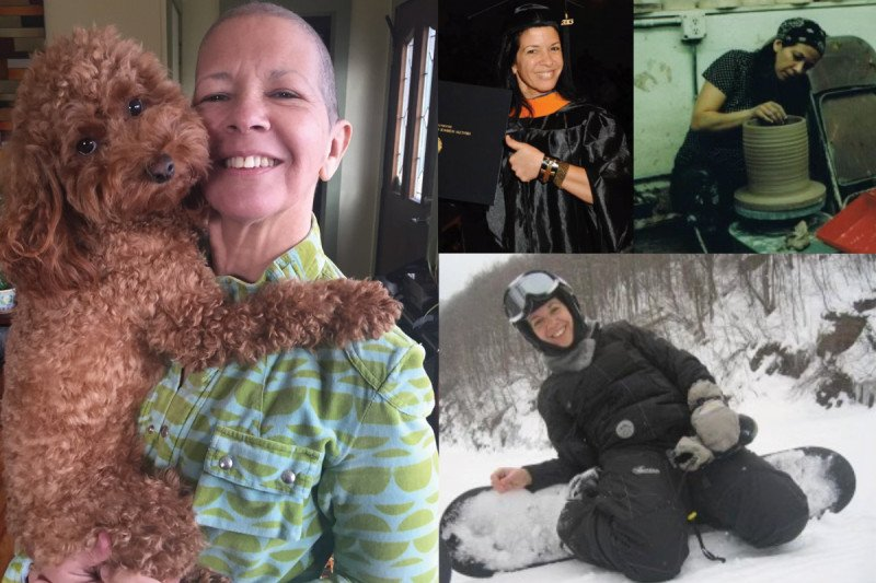 A photo of Paula with her dog; Paula in a graduation cap and gown; Paula at a pottery wheel; and Paula snowboarding.
