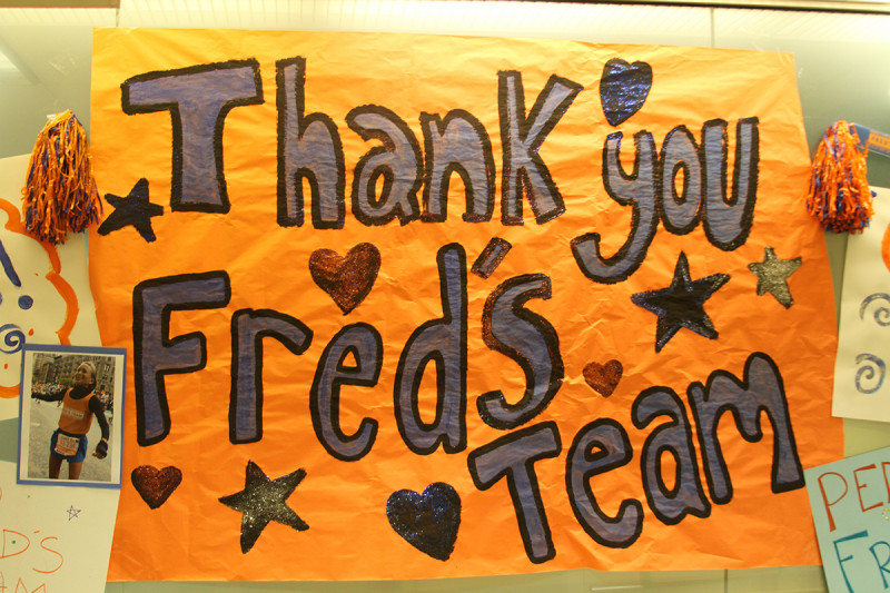 Staff from the Department of Pediatrics showed their support for Fred's Team runners.