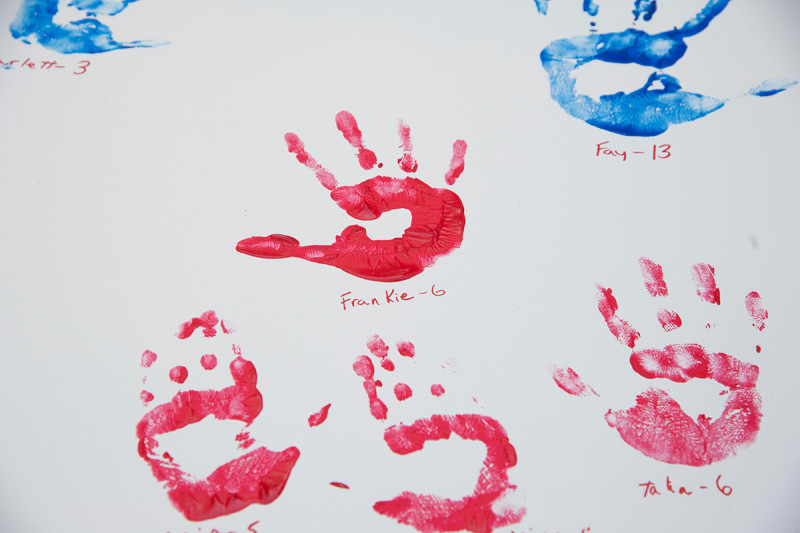 The handprints of Memorial Sloan Kettering pediatric cancer patients will appear on the Hyundai Hope on Wheels car, along with the handprints of other pediatric cancer patients from around the country.