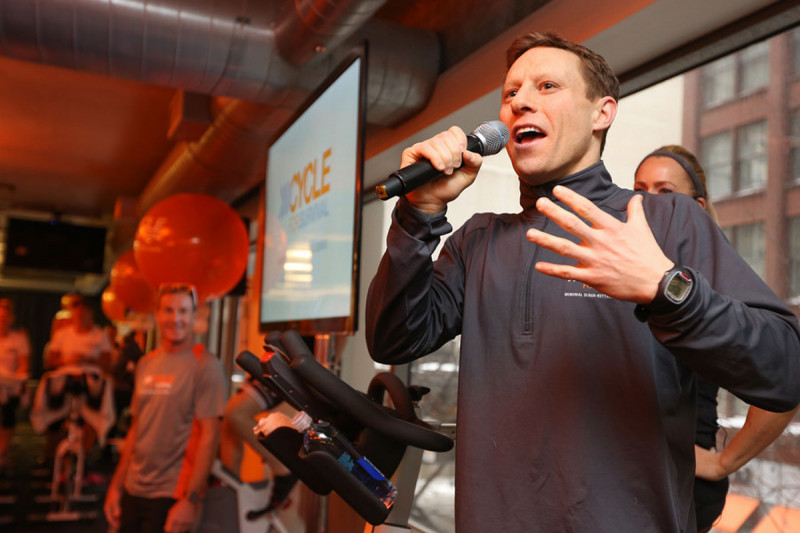 Cycle for Survival co-founder David Linn speaks at the event in his hometown of Chicago. David and his wife, Jennifer Goodman Linn, founded the event in 2007 after Jen was diagnosed with sarcoma. Cycle for Survival became an official Memorial Sloan Kettering event in 2009.