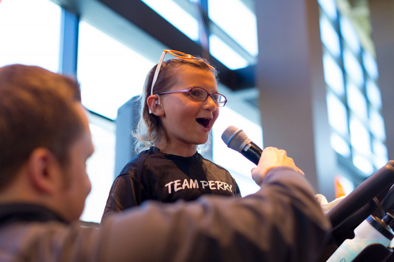 "Thirteen-year-old Perry Zimmerman speaks at the event in Washington, D.C. Perry is a three-time rare-cancer survivor and the inspiration for ""Team Perry."" The team rode in seven cities in 2014 and collectively raised more than $500,000 for rare-cancer research at Memorial Sloan Kettering."