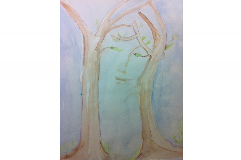 """Woman in the Trees"" by Heather Cabrera, watercolor on paper. (This was featured inside The Lancet Oncology's January 2014 issue.)"