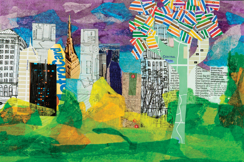 """Central Park"" by Marie Farrell, mixed media collage on paper"