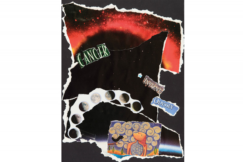 """Cancer: An Instant Odyssey"" by Alice Rosenthal, collage. (This was featured on the cover of The Lancet Oncology's April 2014 issue.)"