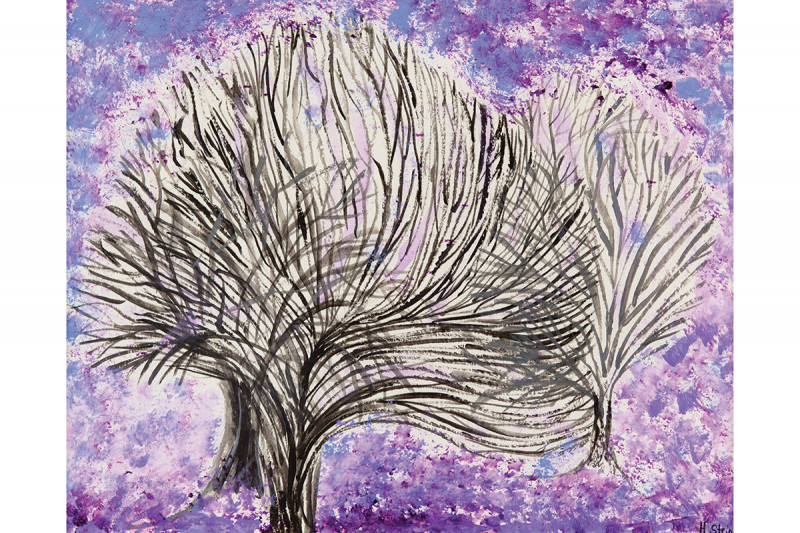 """Trees in Amethyst"" by Helen Stein, acrylic on paper. (This was featured inside The Lancet Oncology's January 2014 issue.)"