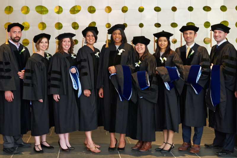 GSK graduates <em>(from left)</em> James Mahaffey, Justine Miller, Moriah Nissan, Neha Bhagwat, Jennifer Nnoli, Ly Vu, Sadia Rahman, William Walkowicz, and John Halliday