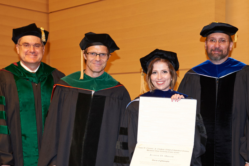 <em>(From left)</em> President and CEO Craig Thompson, developmental biologist Lorenz Studer, GSK graduate Justine Miller, and GSK Dean Kenneth Marians