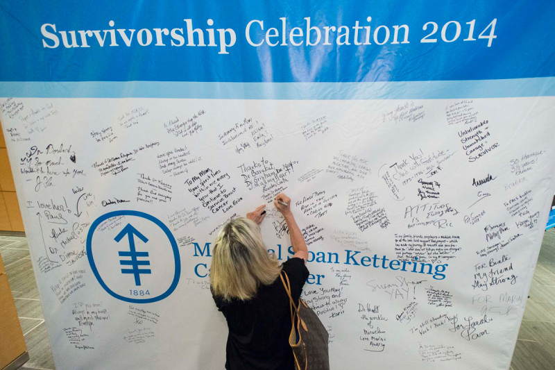 Survivors and family members at our Manhattan event signed their names on a wall and wrote messages to staff and other patients.