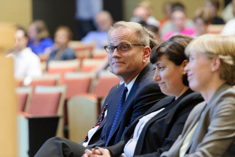 Steven Leach, Director of the David M. Rubenstein Center for Pancreatic Cancer Research (CPCR), listens to presentations during the CPCR's open house.