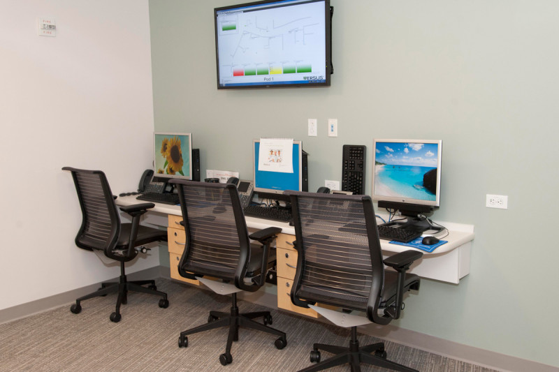 The technologically integrated room at the 64th Street Outpatient Center announces each member of a person's treatment team by name and job function.