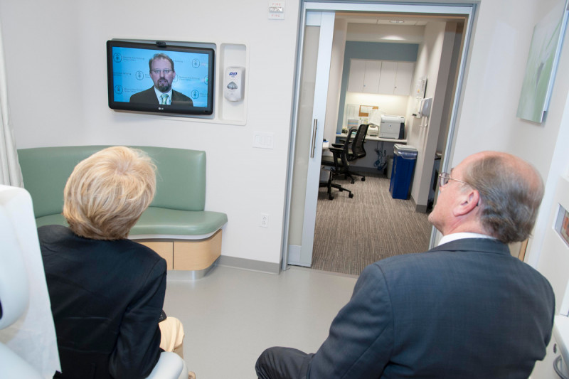 Physicians can share information on in-room screens, including lab and radiology results and educational videos. This video features Dr. Hamlin.