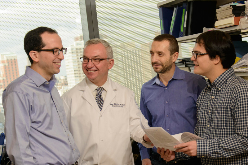 (From left) MSK investigators Michael Berger, José Baselga, and Maurizio Scaltriti, and graduate student Pau Castel.